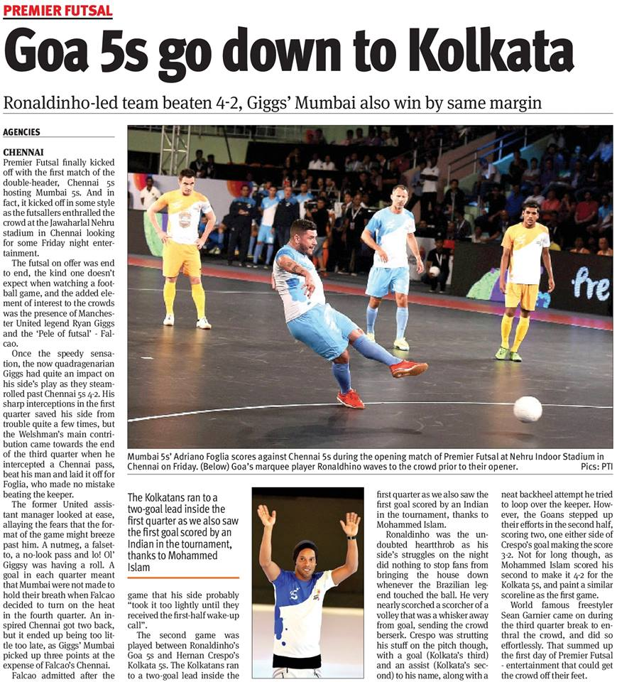 Futsal made the front & back pages of the newspapers